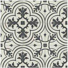"""Forties 7.75"""" x 7.75"""" Ceramic Field Tile in Charcoal/Off-White"""
