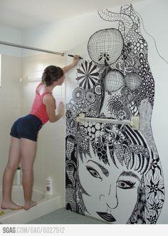 Zentangle art on her bathroom walls