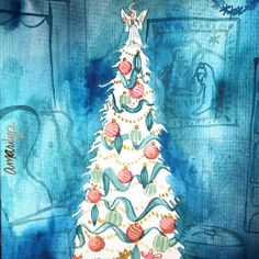 Blue Christmas # #watercolorwonderland