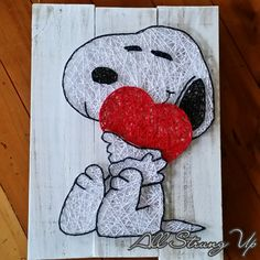 Snoopy Heart - String Art by All Strung Up Mehr String Art Templates, String Art Patterns, Nail String Art, String Crafts, Hilograma Ideas, Snoopy Love, Arts And Crafts, Diy Crafts, Pin Art