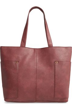 BP. Studded Faux Leather Tote | Nordstrom Carry On Tote, Leather Bag, Studs, Nordstrom, Pocket, Tote Bag, Bags, Women, Handbags