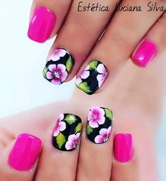 21 - You want to make your nail polishes patterned, here are examples. - 1 We are introducing 2019 marbling nail designs with you. How about meeting y. Nail Manicure, Diy Nails, Cute Nails, Pretty Nails, Nail Polishes, Tulip Nails, Flower Nails, Toe Nail Designs, Nail Polish Designs
