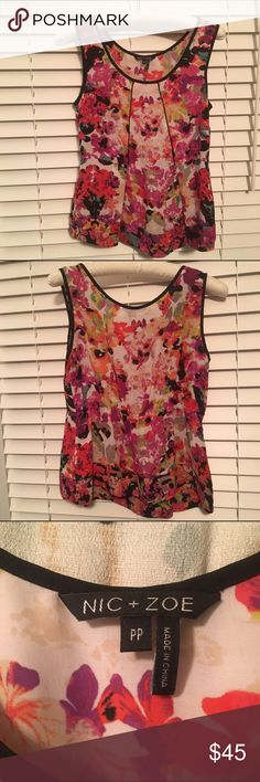 Nic + Zoe: Beautiful Floral Tank Top! Beautiful multicolored floral tank top with black piping detail on the front. Looks gorgeous with anything from jeans to more formal suits! Semi-sheer fabric and in excellent condition! NIC + ZOE Tops Blouses