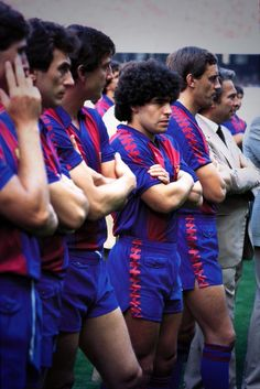 Diego Maradona and his Barcelona teammates in 1982.