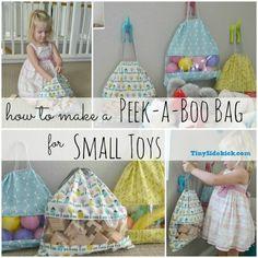 Peek-a-boo Storage Bag Tutorial:  Storage for small toys by Tiny Sidekick
