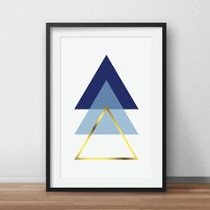 Gold Geometric Print, Scandinavian Art, Navy and blue, Geometric Triangle Art, Navy Triangle, Blue Triangle, Scandinavian Wall Print by AnnyDigitalDesign on Etsy