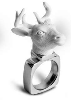 Haoshi Animal Rings are White, Plastic, Taxidermy-Like Accessories #taxidermy trendhunter.com