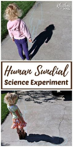 Human Sundial Shadow Science Experiments - Human sundial outdoor shadow science experiment for kids! A hands-on science activity to help children learn how shadows are created and measure the earth's rotation. Homeschool Science Curriculum, Science Activities For Kids, Preschool Science, Science Experiments Kids, Science Lessons, Space Preschool, Science Penguin, Science Classroom, Stem Activities