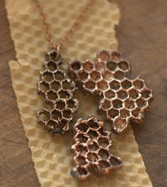 Electroformed honeycomb, copper-plated, honeycomb pendant, natural honeycomb covered with copper, eco friendly, boho jewelry, metal pendant