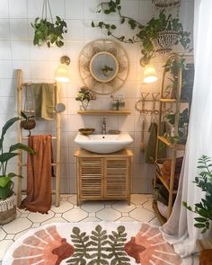 Boho Bathroom, Bathroom Ideas, Decoration, Double Vanity, Sweet Home, Tropical, Mirror, Instagram, Bathrooms