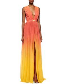 -5P9A Elie Saab High-Slit Ombre Silk Gown & Ombre Crystal-Embellished Leather Belt, Coral Reef/Lemon