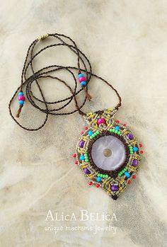 Alica.Belica / NA OBJEDNÁVKU Veselá nabíjačka (macramé amulet,náhrdelník, šaman, etno, ruženín)