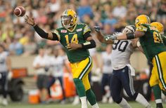 Edmonton Eskimos quarterback James Franklin throws a pass against the Toronto Argonauts during Friday's Canadian Football League game at Commonwealth Stadium.  Photograph by: Greg Southam , Edmonton Journal