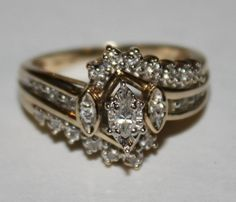 Estate Diamond Ring 10k Y/G Ring 60ctw by fairytaletreasures, $450.00