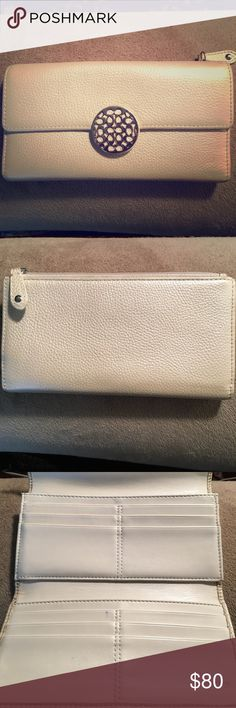 Coach wallet Champagne colored Coach wallet, lightly used, dark navy lining Coach Bags Wallets