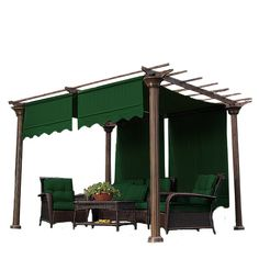 """Pergola Shades  This product includes TWO shades as see in picture.   Each sheet measures: 185"""" L x 51"""" W Required Hardware (NOT INCLUDED, purchase separately, see Sidebar -->)  By inserting a rod weight on each end, the shade will stay in place during windy conditions.   Metal structure in picture not included.  This product includes the fabric canopy only."""