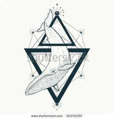 Whale tattoo geometric style. Mystical symbol of adventure, dreams. Creative geometric whale tattoo art t-shirt print design poster textile. Travel, adventure, outdoors symbol whale marine tattoo