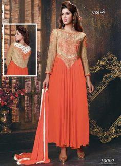 Dazzling Orange Faux Georgette Fancy Designer Anarkali Suit http://www.angelnx.com/