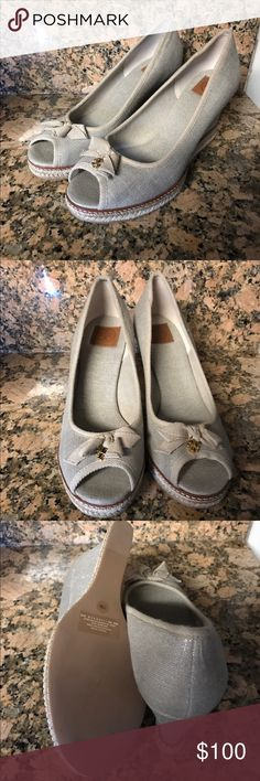 TORY BURCH Jackie Espadrille Wedges New without box, subtle metallic color. Tory Burch Shoes