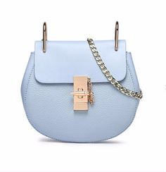 Itamood Draw Mini Leather Shoulder Bag Colors: Shallow Blue, Cherry Pink, Pink/Gold, Red And Black Material: Leather Style: Shoulder Bag Size: Length: 19CM Width: 7CM Height: 18CM Pattern: Plain/Solid