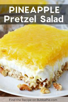 Pineapple Pretzel Salad Move over classic strawberry pretzel salad, this easy, light, fluffy Pineapple Pretzel salad recipe has the perfect combination of sweet pineapple and salty pretzels. It is the perfect dessert salad for any occasion. Dessert Salads, Jello Recipes, Köstliche Desserts, Dessert Bars, Delicious Desserts, Yummy Food, Light Dessert Recipes, Light Desserts, Fruit Salads
