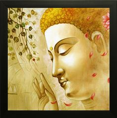SAF 'Buddha Religious' Painting (Synthetic, 35 cm x 3 cm x 35 cm, SA-1000013): Amazon.in: Home & Kitchen