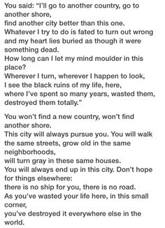 The City by C.P. Cavafy