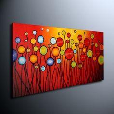 met de hand geschilderde bloemen olieverf met gestrekte kader