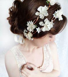 wedding hair accessories, ivory flower bridal head wreath, cream wedding headpiece - BO PEEP - rustic flower circlet, bridal hair accessory. $95.00, via Etsy.