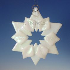 SOLSTICE White Iridized Snowflake Fused Glass Ornament by TheWoCo