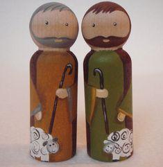 Pintado a mano de madera de la natividad de la muñeca de palo. por MaketheScene en Etsy