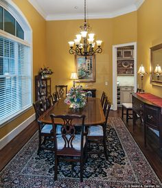 Dining room from The Birchwood, plan 1239. http://www.dongardner.com/plan_details.aspx?pid=3751. #DiningRoom #Craftsman #Design