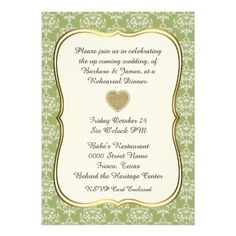 Chic Green Damask Wedding Rehearsal Dinner Personalized Invite