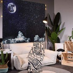 SENYYI Moon Stars Wall Tapestry Wall Hanging Outer Space and Galaxy Tapestry Night Sky with White Cloud Home Decor for Room x inches) Space Tapestry, Tapestry Bedroom, Wall Tapestry, Psychedelic Art, Living Room Bedroom, Living Room Decor, Star Bedroom, Star Wall, Cool Walls