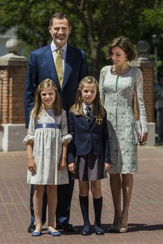 MyRoyals:  First Communion of Infanta Leonor, Infanta de los Asturias, May 20, 2015-King Felipe and Queen Letizia with Infanta Sofía and Infanta Leonor