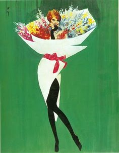 René Gruau. LOVE - nothing better than a pop of green & a bouquet of flowers