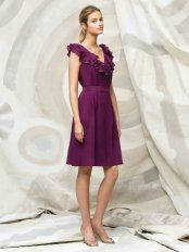 Purple A-Line V-Neck and Sleeveless Lace Up Knee Length Prom Dresses With Ruffles and Belt