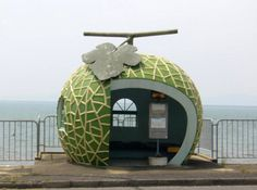 A melon bus stop in Japan