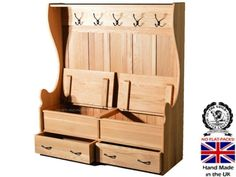 100% Solid Oak Monks Bench, Handcrafted 5ft High Settle, Pew, Lifting Seat Hallway Shoe Storage Seat with Drawers & Coat Rack. Heartland Oak Range, No flat packs, No assembly (MB4-OAK): Amazon.co.uk: Kitchen & Home