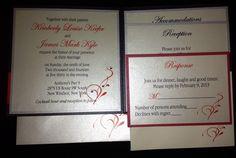 Red, Silver, Black and Ivory Pocketfold Wedding Invitation