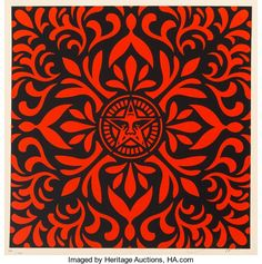 Prints:Contemporary, Shepard Fairey (b. Japanese Fabric Pattern SetRed/Blk (two works), Silkscreen with colors. 18 x . Fabric Patterns, Print Patterns, Shepard Fairey Obey, The Future Is Now, Japanese Fabric, Auction, Tapestry, Art Prints, Rugs