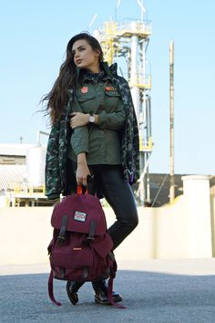 camo pattern, green, backpack, casual outfits, streetstyle, ootd, casual outfits