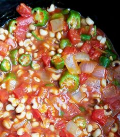 Slow Cooker Black-Eyed Peas, Okra and Tomatoes — Ugly Vegan Kitchen Vegan Bean Recipes, Okra Recipes, Vegetable Recipes, Soup Recipes, Vegetarian Recipes, Healthy Recipes, Vegetarian Cooking, Easy Recipes, Vegetarian Barbecue