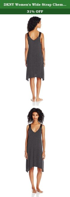 DKNY Women's Wide Strap Chemise, Charcoal Heather, S. Smooth modal that drapes to perfection makes the DKNY chemise a morning to night staple.