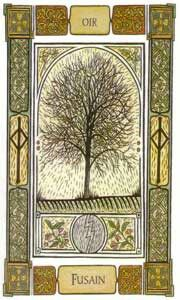 """The Celtic Oracle Deck Card of """"Charcoal""""  Ogham: Or.Gentleness and Agreements; Charcoal represents the Benefit from the happiness around you. The material world can be a source but retreat and spirituality can give you greater joy This be indicative to the rainbow in your own heart."""