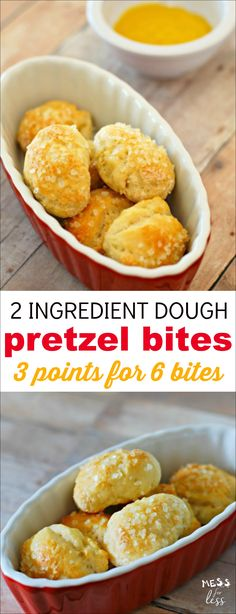 Weight Watchers friendly Two Ingredient Dough Pretzel Bites. Six pretzel bites are just 3 points on the Freestyle program so you can enjoy a yummy treat with no guilt.