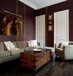 a rich wall color I love, Benjamin Moore Affinity Caponata, w/ gold metallic pinstripes