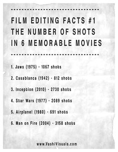 Film Editing Facts - The number of shots in 6 memorable movies. Film Tips, Film Theory, Film Blade Runner, Digital Film, Script Writing, Film School, Indie Movies, Video Film, Film Quotes