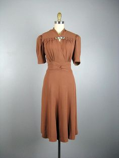 Vintage 1940s Dress 40's Milk Chocolate Brown Rayon Dress