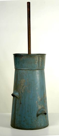 C1860 blue tin butter churn.